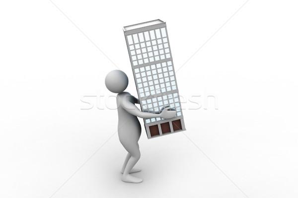 3d man puce maison affaires fond noir Photo stock © cuteimage