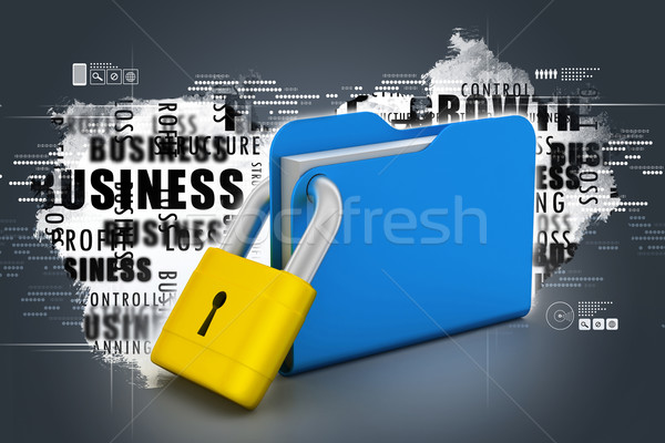 папке заблокированный служба бумаги металл веб Сток-фото © cuteimage