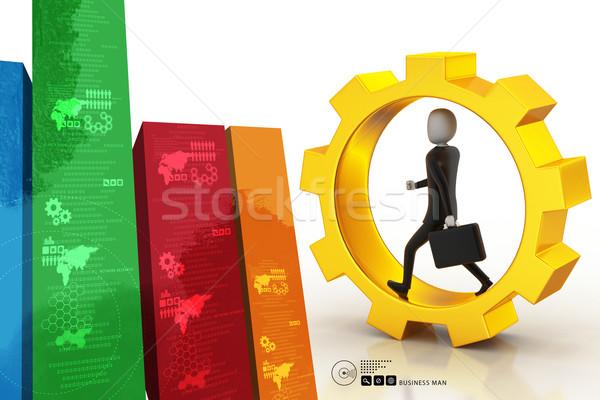 деловой человек работает Gear Колеса служба работу Сток-фото © cuteimage