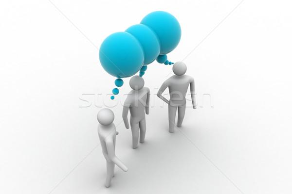 Foto stock: 3d · pessoas · negócio · equipe · bubbles · informação