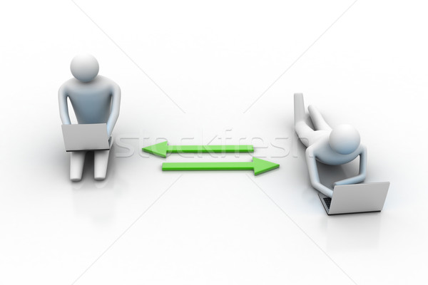 Two 3d people holding laptops are connected with arrows Stock photo © cuteimage