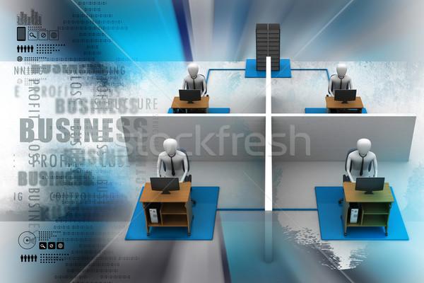 сеть ноутбука компьютер работу фон группа Сток-фото © cuteimage