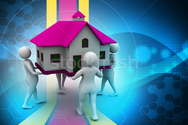 Stock photo: 3D people holding a house