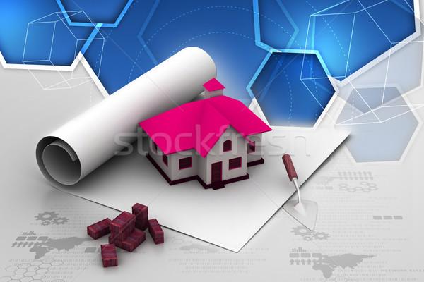 Plan maison papier design maison peinture Photo stock © cuteimage