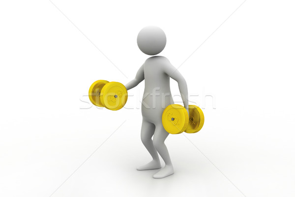 3d man with dumbbells Stock photo © cuteimage
