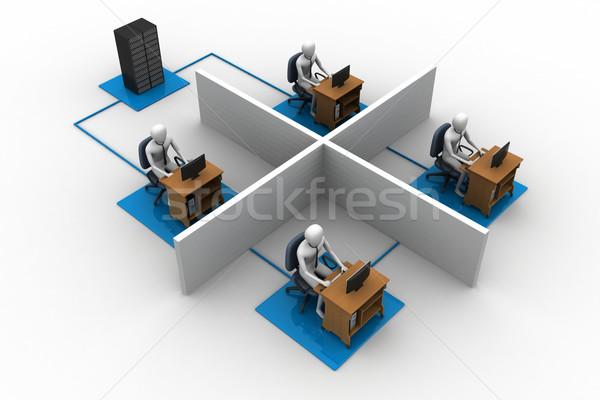 Ağ dizüstü bilgisayar bilgisayar çalışmak arka plan grup Stok fotoğraf © cuteimage