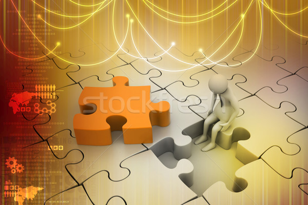 Finance concept: Risk on puzzle piece Stock photo © cuteimage