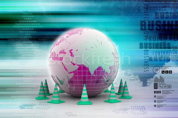 Globe and traffic cone Stock photo © cuteimage