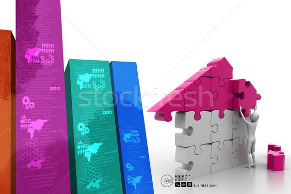 3d man, building the house Stock photo © cuteimage