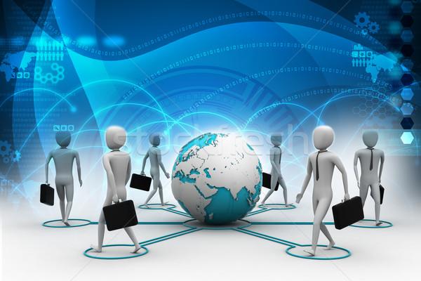 3D бизнесмен мира земле интернет Сток-фото © cuteimage