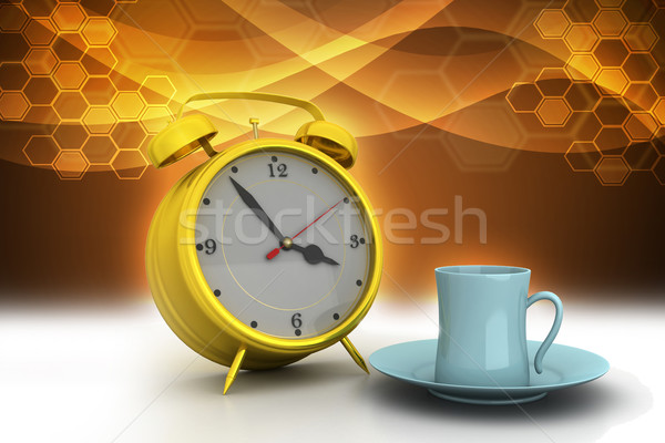 Alarm clock with cup of tea Stock photo © cuteimage