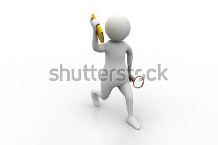 3d человек папке увеличительное стекло мужчин информации белый Сток-фото © cuteimage