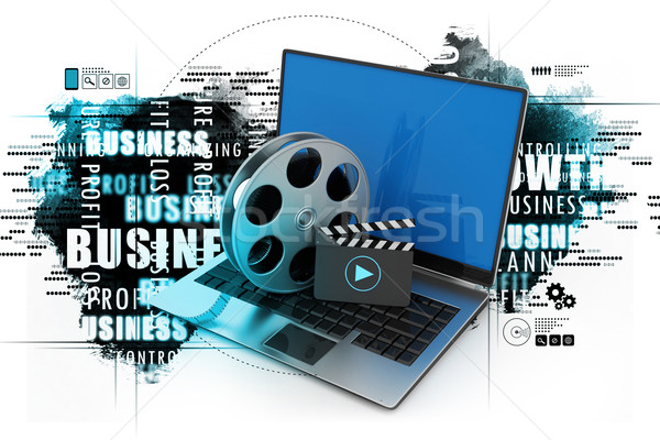 Laptop filme tecnologia fundo azul Foto stock © cuteimage