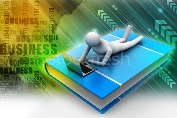 3d человек книга ноутбука служба человека школы Сток-фото © cuteimage