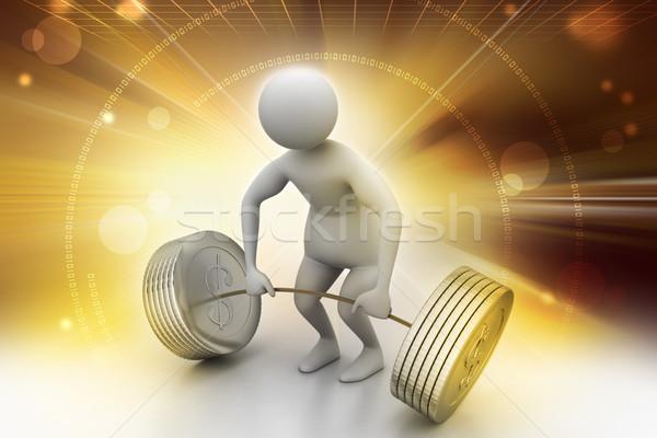 3d man lifting weights   Stock photo © cuteimage