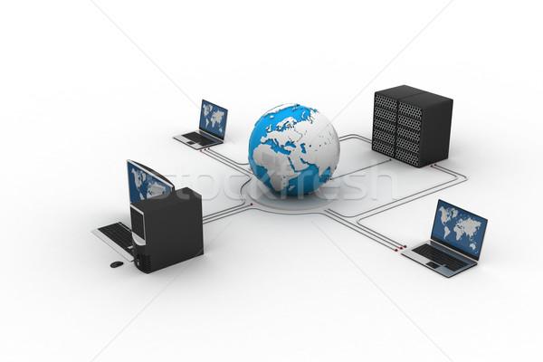 мира вокруг ноутбука сервер компьютер толпа Сток-фото © cuteimage