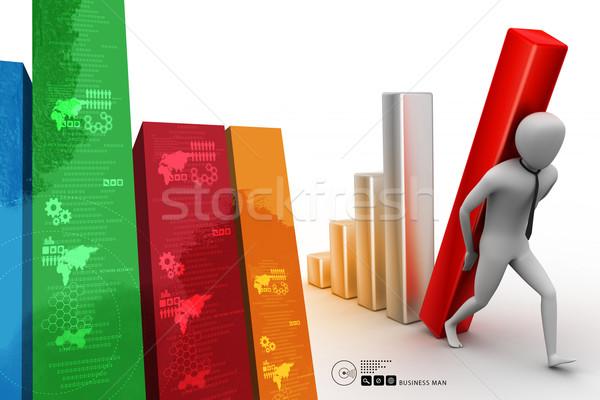 3D ビジネスマン ビッグ 列 図 ストックフォト © cuteimage