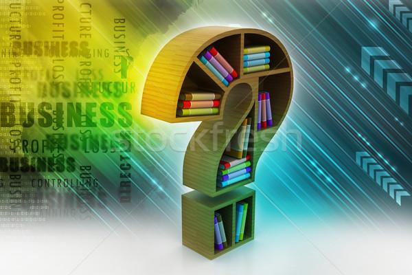 Boekenplank model vraagteken papier school onderwijs Stockfoto © cuteimage