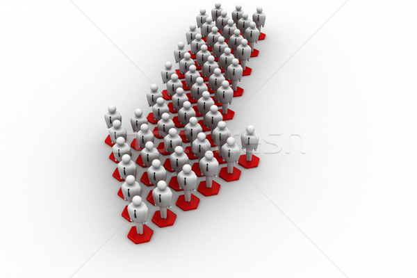 3d people arrange in arrow que Stock photo © cuteimage