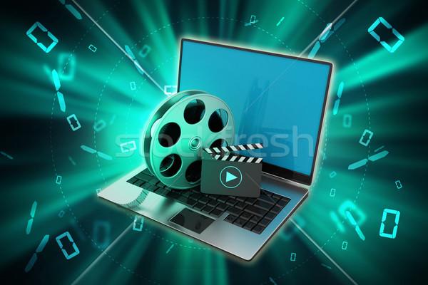 Laptop tekercs film technológia háttér kék Stock fotó © cuteimage