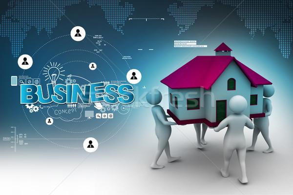 3d pessoas casa negócio internet edifício Foto stock © cuteimage
