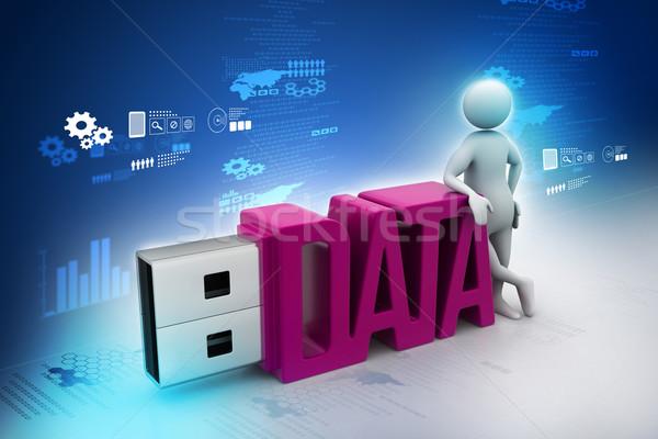 Biznesmen stałego usb flash drive komputera Internetu Zdjęcia stock © cuteimage