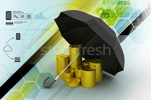 Золотые монеты черный зонтик бизнеса деньги безопасности Сток-фото © cuteimage