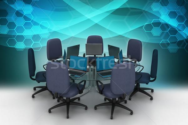 Konferans tablo bilgisayar Internet toplantı teknoloji Stok fotoğraf © cuteimage