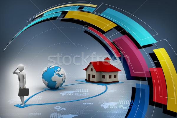 3d man ev dünya adam inşaat arka plan Stok fotoğraf © cuteimage
