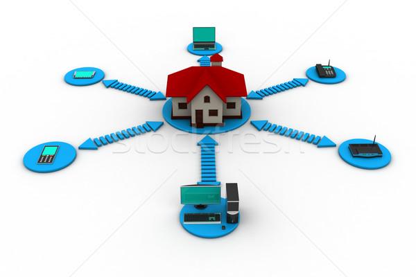 Puce maison technologie éducation web temps Photo stock © cuteimage