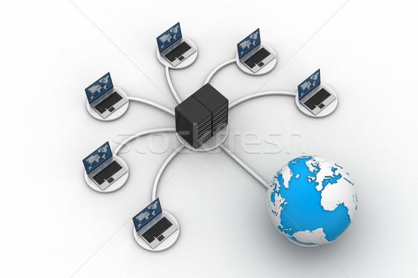 Laptop duży serwera netto pracy firewall Zdjęcia stock © cuteimage