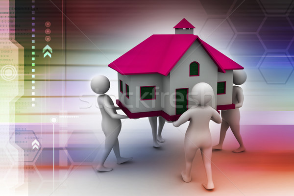 3D people holding a house Stock photo © cuteimage