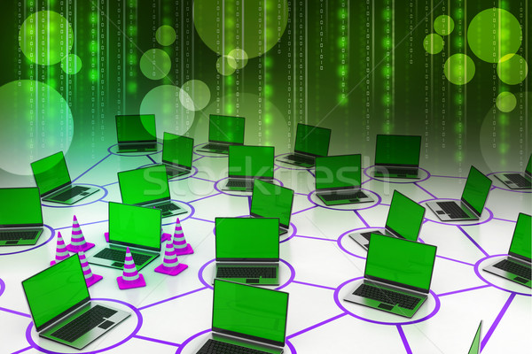 laptop network with traffic cone Stock photo © cuteimage