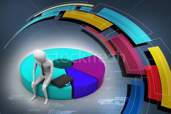 ビジネスマン 円グラフ コンピュータ ノートパソコン ビジネスマン ストックフォト © cuteimage
