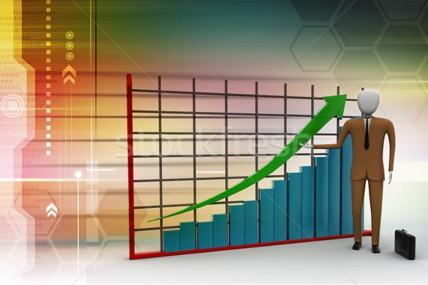 Foto stock: Homem · de · negócios · em · pé · financeiro · gráfico · homem · empresário