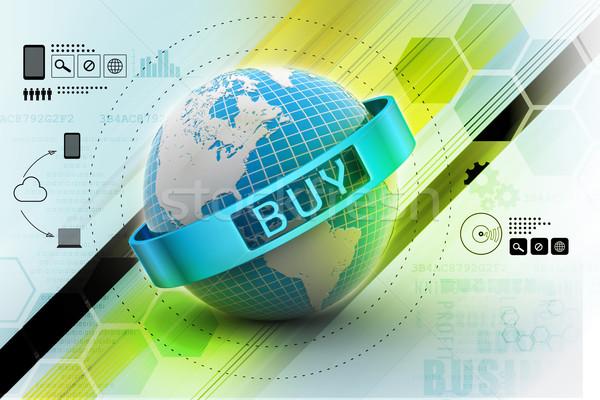 Ecommerce ordinateur sécurité communication magasin planète Photo stock © cuteimage