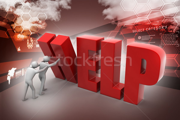 3d people with help text Stock photo © cuteimage
