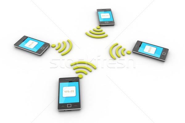 Technologie sans fil sans fil argent téléphone technologie Photo stock © cuteimage