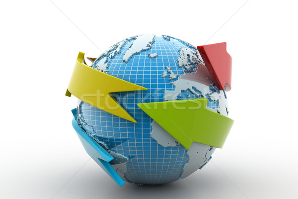 Toprak ok daire etrafında dünya harita Stok fotoğraf © cuteimage
