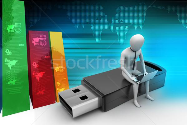 O homem 3d laptop sessão usb internet tecnologia Foto stock © cuteimage