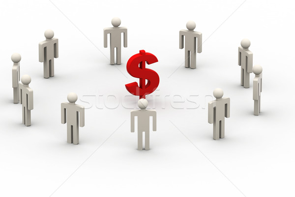 3D people around dollar sign Stock photo © cuteimage