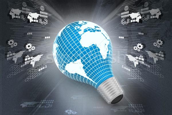 électriques ampoule carte du monde carte espace science Photo stock © cuteimage