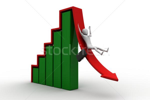 Iş adamı aşağı kırmızı ok 3D Stok fotoğraf © cuteimage