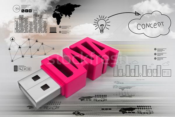 Usb flash drive computador azul comunicação digital Foto stock © cuteimage