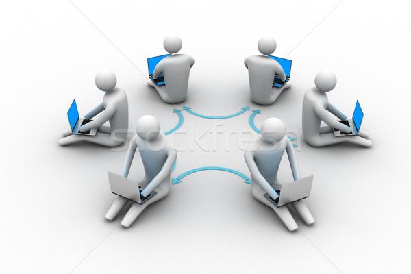 3d illustration personnes travaillant ligne portable argent internet Photo stock © cuteimage