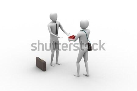 сообщение служба бумаги знак деловой человек Дать Сток-фото © cuteimage