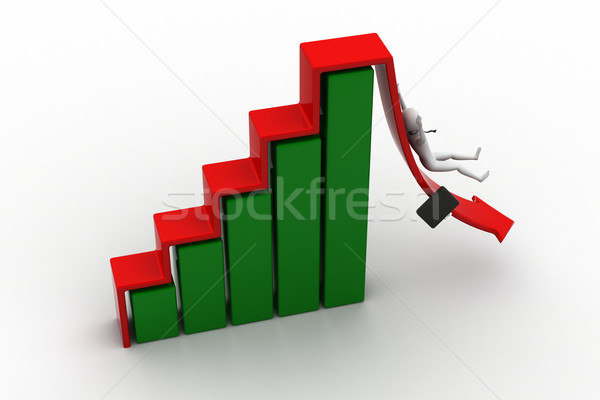 Business man rolls down the red arrow. 3d image. Stock photo © cuteimage