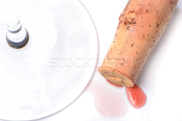 Red wine cork and a wineglass Stock photo © cwzahner