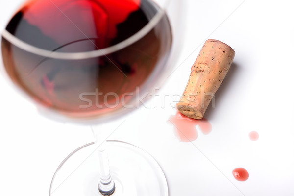 Glass of red wine with cork Stock photo © cwzahner