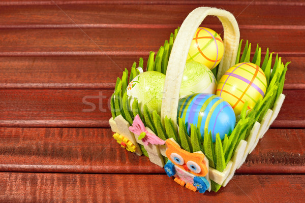Eastern eggs and basket Stock photo © cwzahner